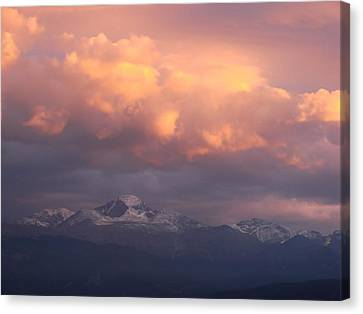 October Sunset Over Longs Peak Canvas Print by Margaret Bobb