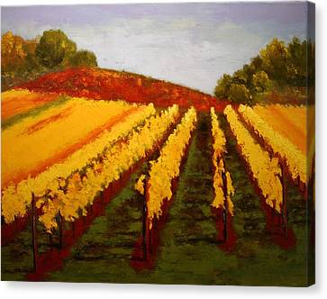 Canvas Print featuring the painting October Vineyard by Nancy Jolley