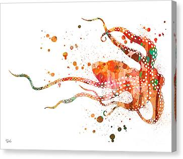 Octopus 2 Canvas Print by Watercolor Girl