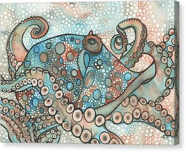 Canvas Print featuring the painting Octopus by Tamara Phillips