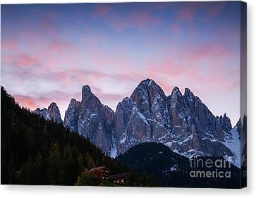 Odle Mountain Group In The Dolomites - Italy Canvas Print