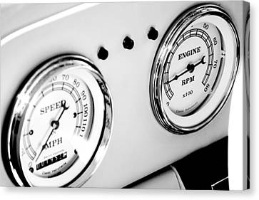 Odometer And Tachometer Of An Antique Car Canvas Print