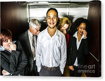 Odor In The Elevator Canvas Print by Diane Diederich