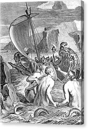 Folkloric Canvas Print - Odysseus Escapes Charms Of The Sirens by Photo Researchers