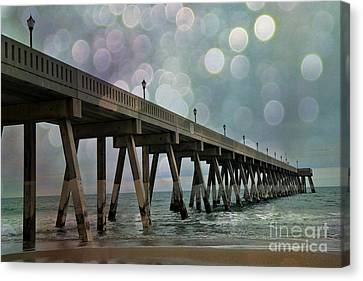 Wrightsville Beach Ocean Fishing Pier - Beach Ocean Coastal Fishing Pier  Canvas Print