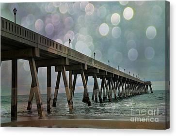 Wrightsville Beach Ocean Fishing Pier - Beach Ocean Coastal Fishing Pier  Canvas Print by Kathy Fornal
