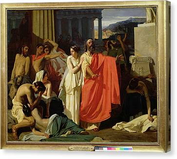 Sacrificial Canvas Print - Oedipus And Antigone Being Exiled To Thebes, 1843 Oil On Canvas by Ernest Hillemacher