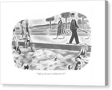 Of?cer, This Man Is Making Tunnels Canvas Print by Richard Taylor