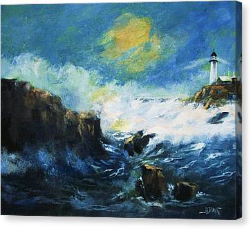 Canvas Print featuring the painting Off Shore Breakers At Dusk by Al Brown