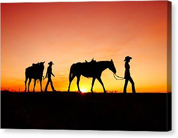 Off To The Barn Canvas Print by Todd Klassy