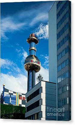 Office Building And Waste-to-energy Plant Vienna Canvas Print by Stephan Pietzko