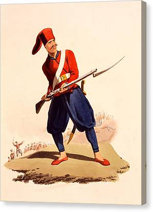 Officer Of European Infantry Of Ottoman Canvas Print by Thomas Charles Wageman