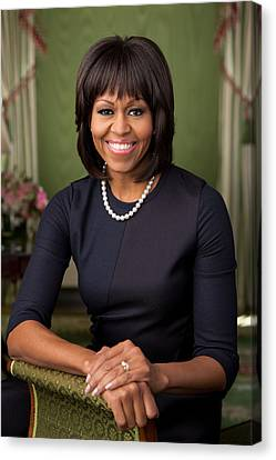 Official Portrait Of First Lady Michelle Obama Canvas Print by Celestial Images
