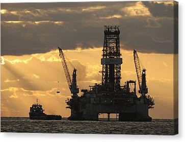 Crane Canvas Print - Offshore Rig At Dawn by Bradford Martin