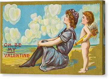 Oh Be My Valentine Postcard Canvas Print by American School