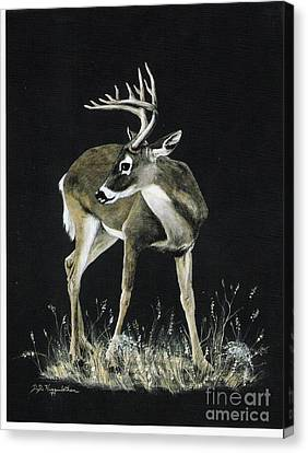 Canvas Print featuring the painting Oh Deer.....listen by DiDi Higginbotham