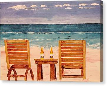 Two Corona's And A Beach Canvas Print