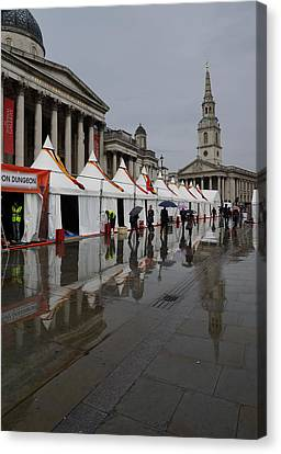 Oh So London - Rain Puddles And Reflections Canvas Print by Georgia Mizuleva