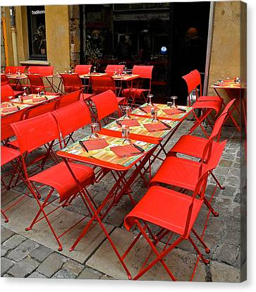 Canvas Print featuring the photograph Oh Those French Cafes by Kirsten Giving