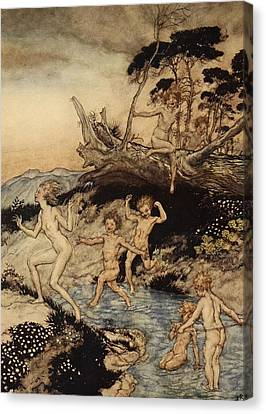 Oh What A Good Time Was That Canvas Print by Arthur Rackham
