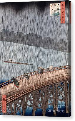 Ohashi Sudden Shower At Atake Canvas Print by Ando Hiroshige