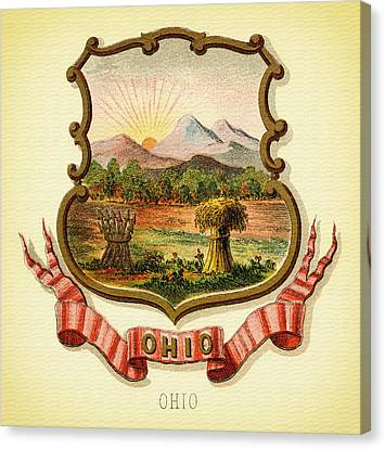 Ohio Coat Of Arms - 1876 Canvas Print by Mountain Dreams