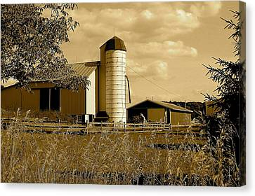 Ohio Farm In Sepia Canvas Print by Frozen in Time Fine Art Photography