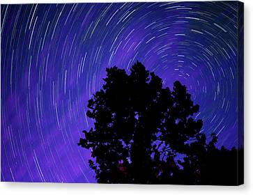 Canvas Print featuring the photograph Ohio Night Sky - Star Trails by Gregory Ballos