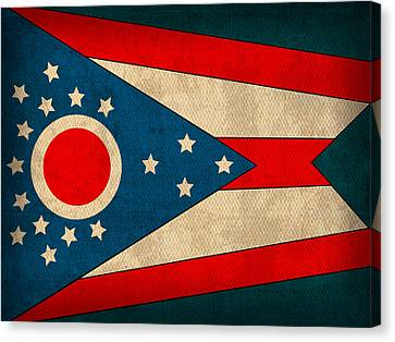 Ohio State Flag Art On Worn Canvas Canvas Print by Design Turnpike
