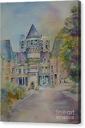 Canvas Print featuring the painting Ohio State Reformatory by Mary Haley-Rocks
