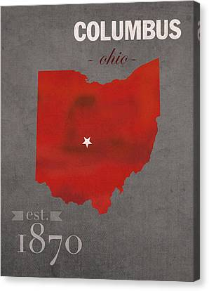 Ohio State University Buckeyes Columbus Ohio College Town State Map Poster Series No 005 Canvas Print by Design Turnpike
