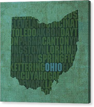 Ohio State Word Art On Canvas Canvas Print by Design Turnpike