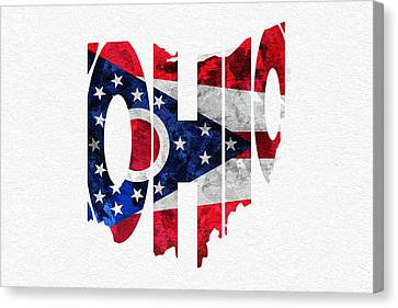 Ohio Typographic Map Flag Canvas Print by Ayse Deniz