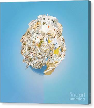 Oia Panorama Planet 02 Canvas Print by Antony McAulay