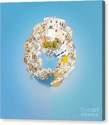 Oia Panorama Planet Canvas Print by Antony McAulay