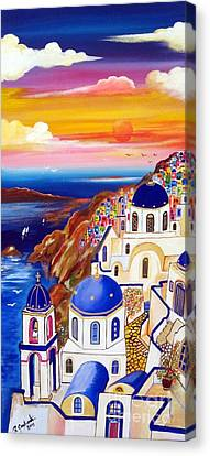 Oia Santorini Greece Canvas Print by Roberto Gagliardi