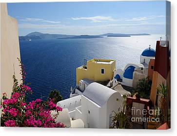 Oia Village In Santorini Island  Canvas Print by Haleh Mahbod