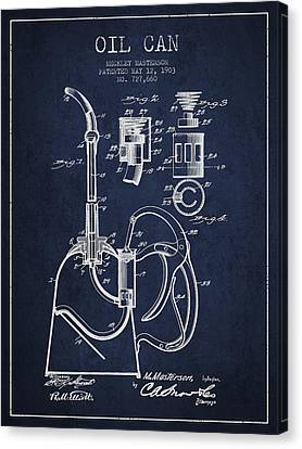 Oil Can Patent From 1903 - Navy Blue Canvas Print by Aged Pixel