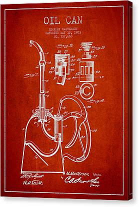 Oil Can Patent From 1903 - Red Canvas Print by Aged Pixel
