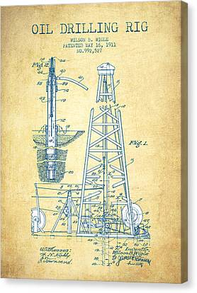 Oil Drilling Rig Patent From 1911 - Vintage Paper Canvas Print by Aged Pixel