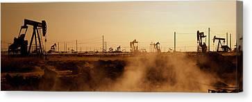 Oil Drills In A Field, Maricopa, Kern Canvas Print