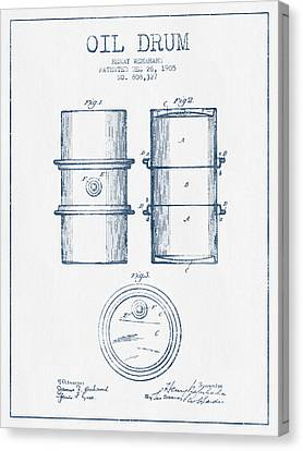 Oil Drum Patent Drawing From 1905 -  Blue Ink Canvas Print by Aged Pixel