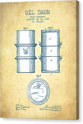 Oil Drum Patent Drawing From 1905 - Vintage Paper Canvas Print