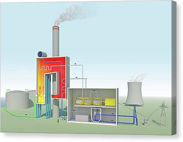 Combusting Canvas Print - Oil-fired Power Station by Science Photo Library