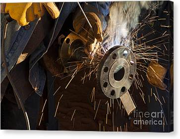 Canvas Print featuring the photograph Oil Industry Pipefitter Welder by Keith Kapple