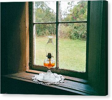 Oil Lamp On Window Canvas Print by Susan Crossman Buscho