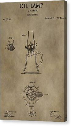 Oil Lamp Patent Canvas Print by Dan Sproul