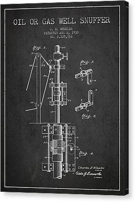 Oil Or Gas Well Snuffer Patent From 1938 - Charcoal Canvas Print