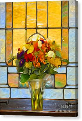 Oil Painted Stained Glass And Bridal Bouquet Canvas Print by Brian Mollenkopf