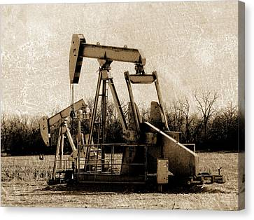Oil Pump Jack In Sepia Canvas Print